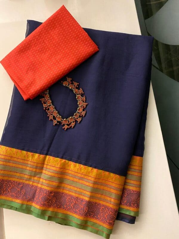 Navy blue chiffon saree with kanchi cotton border1