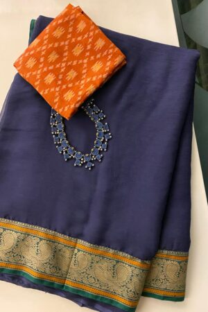 Navy blue chiffon saree with kanchi cotton border2