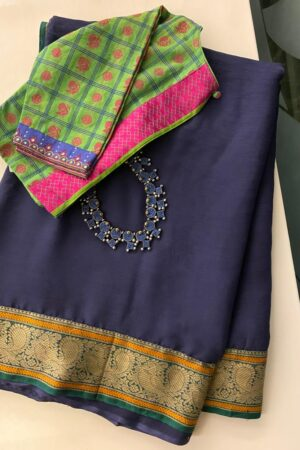 Navy blue chiffon saree with kanchi cotton border3