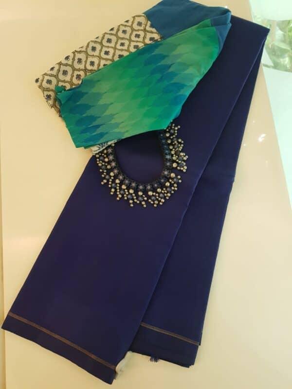 Navy blue lavanyam kanchipuram silk saree