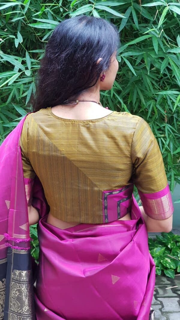 Oil mustard silk blouse with pink border1