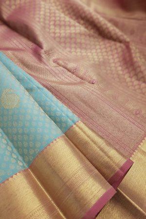 Pale blue kanchipuram silk saree with pink border1