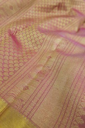 Pale blue kanchipuram silk saree with pink border2