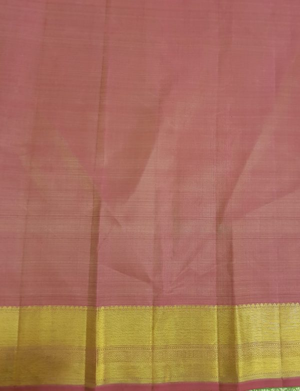 Pale blue kanchipuram silk saree with pink border4