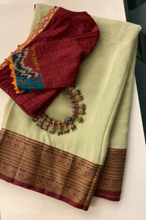 Pale greenish yellow chiffon saree with kanchi cotton border1