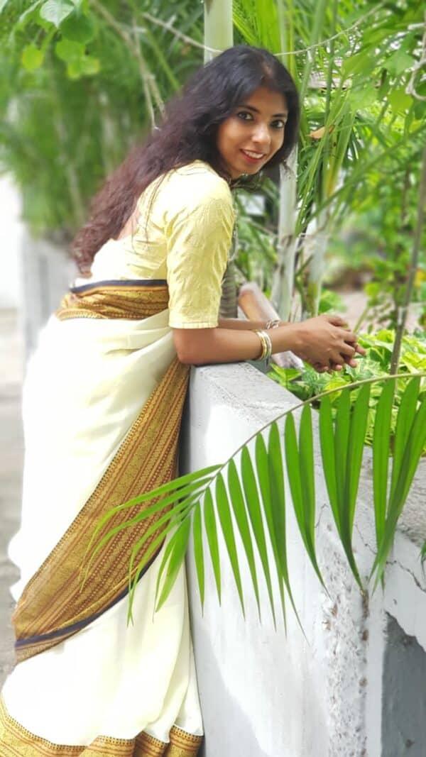 Butter yellow chiffon saree with kanchi cotton border1