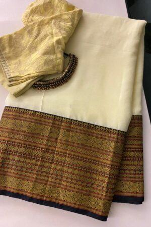Butter yellow chiffon saree with kanchi cotton border2