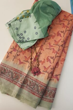 Peach with green border tussar saree