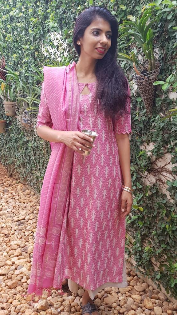 Pink dhabu chanderi kurta & Dupatta