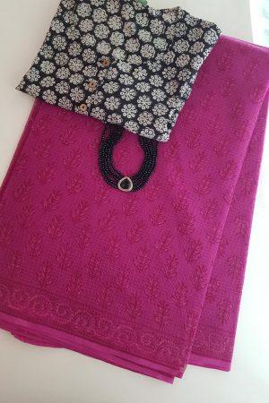 Pink dhabu kota saree 3