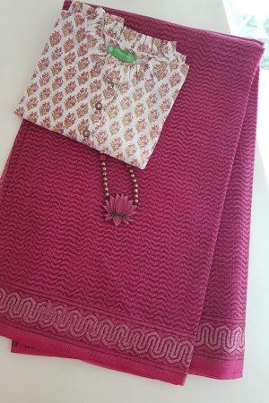 Pink dhabu kota saree