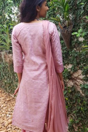 Pink embroidered chanderi kurta1