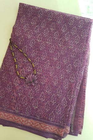 Purple and pink dhabu kota saree