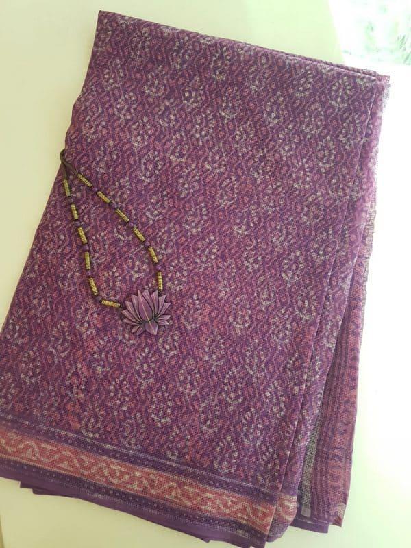 Purple and pink dhabu kota saree