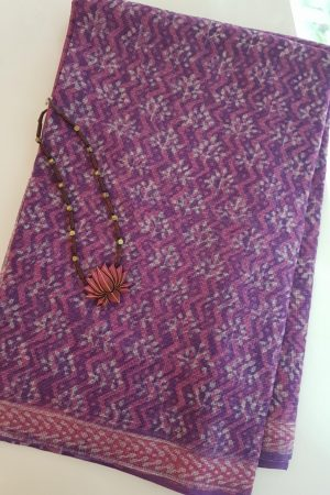 Purple and pink dhabu kota saree1