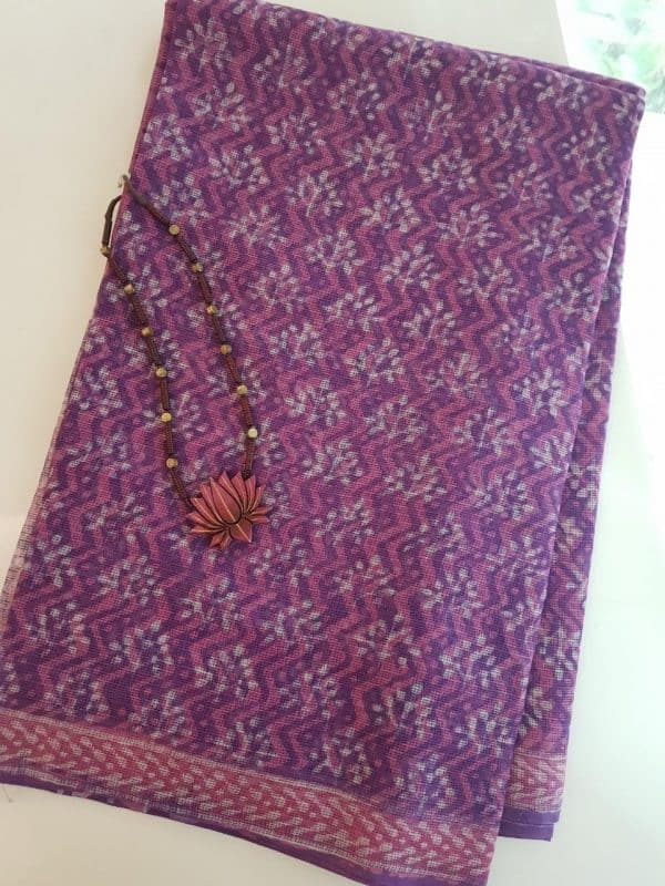 Purple and pink dhabu kota saree1