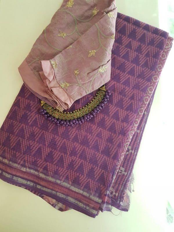 Purple and pink dhabu kota saree2
