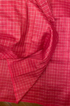 REd zari checked tussar fabric
