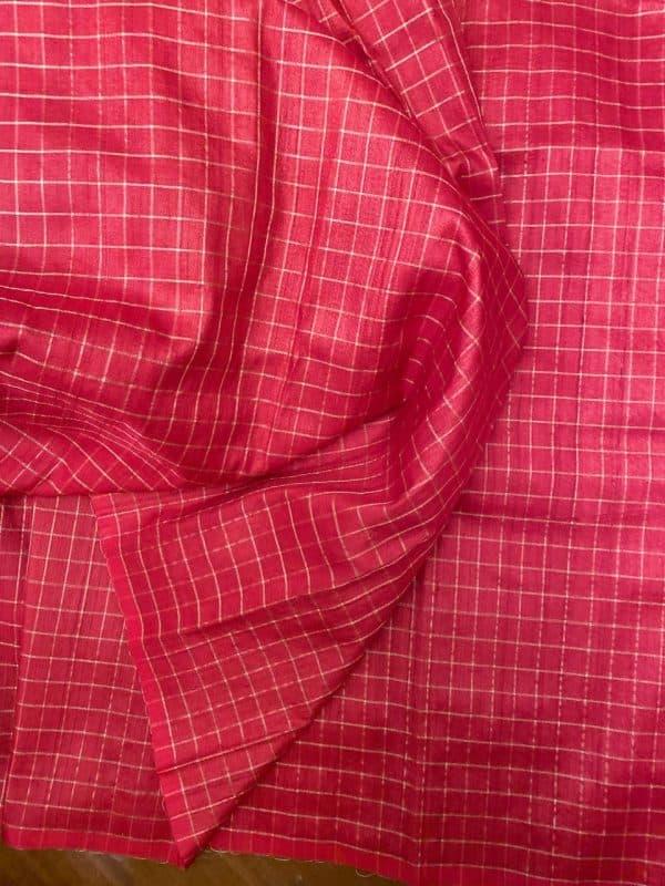 REd zari checked tussar fabric