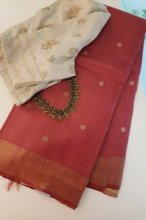 Red hand woven tussar saree with polka dots