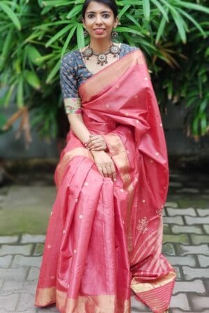 Red hand woven tussar saree with polka dots3