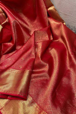Red kanchipuram silk saree with brocade design1
