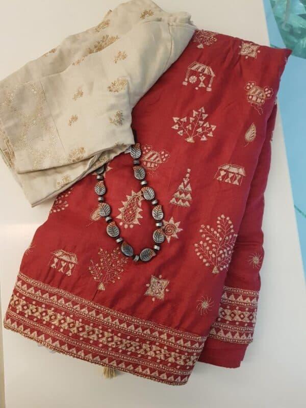 Red kantha work saree