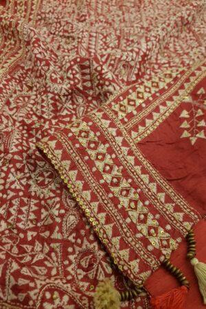 Red kantha work saree2