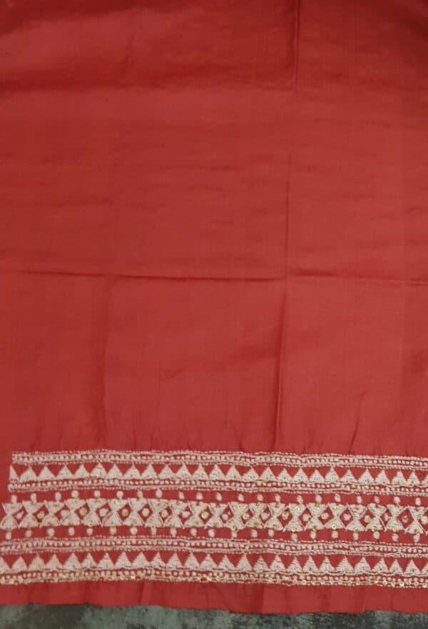 Red kantha work saree3