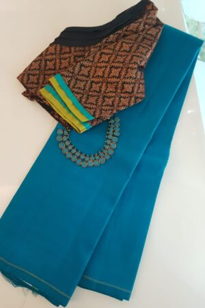 T blue lavanyam plain kanchi silk saree