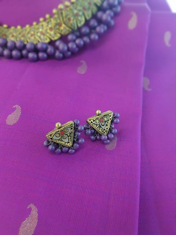 Terracotta choker with purple beads3