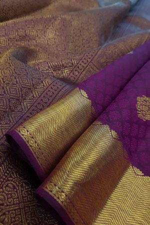 Violet kanchipuram silk saree with jacquard body1