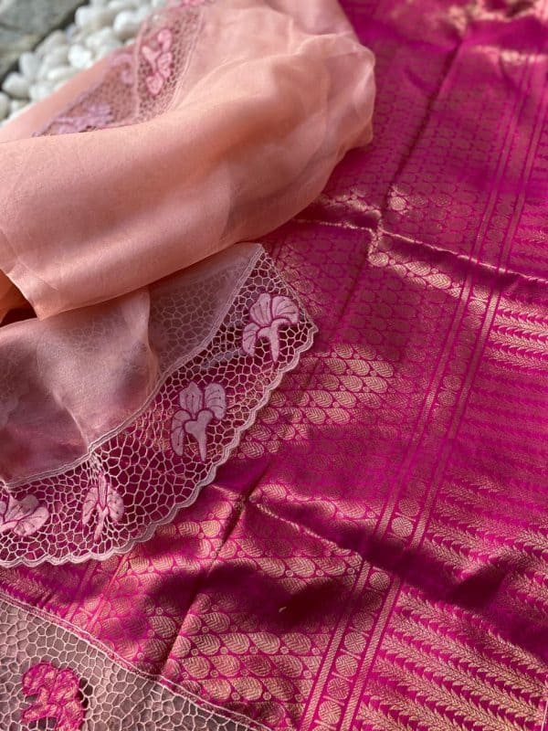 dusty rose organza with cutwork and silk pallu