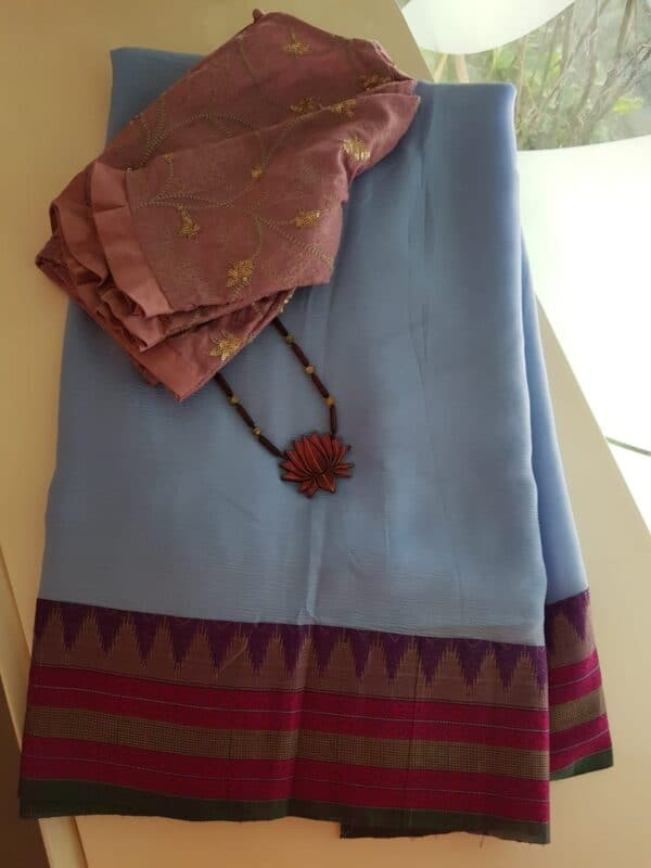 grey chiffon saree with kanchi cotton border3