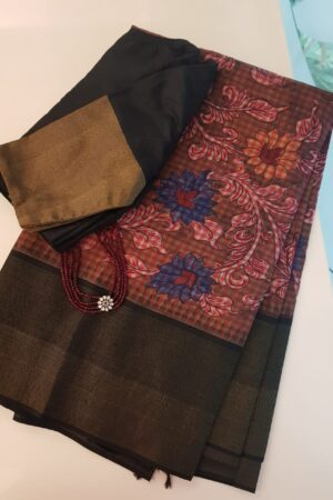 kanchipuram silk saree with kalamkari and black border