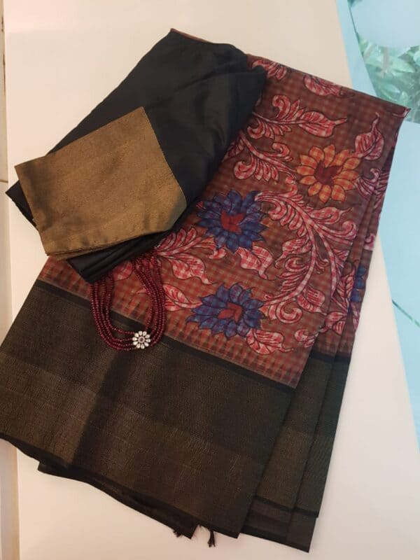 kanchipuram silk saree with kalamkari and black border