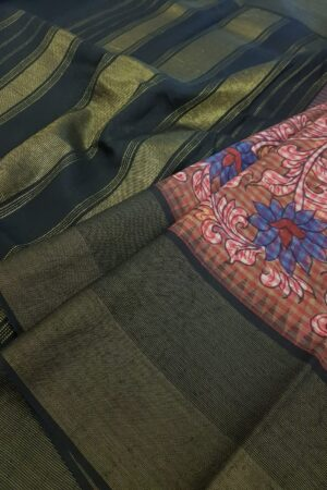 kanchipuram silk saree with kalamkari and black border1