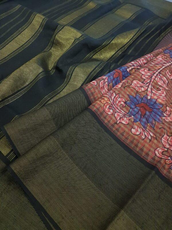 kanchipuram silk saree with kalamkari and black border1