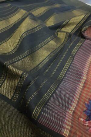 kanchipuram silk saree with kalamkari and black border2