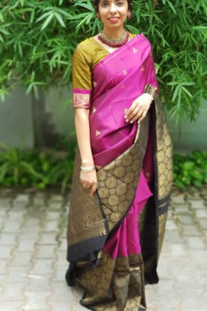 pink kanchipuram silk saree with black border