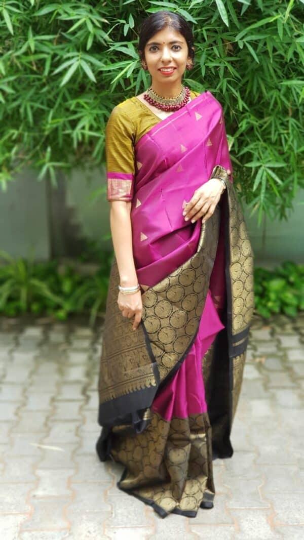 pink kanchipuram silk saree with black border