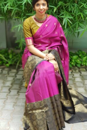 pink kanchipuram silk saree with black border1