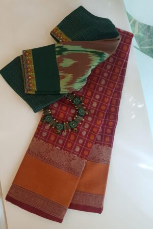 Arakku kanchi cotton saree with rust border