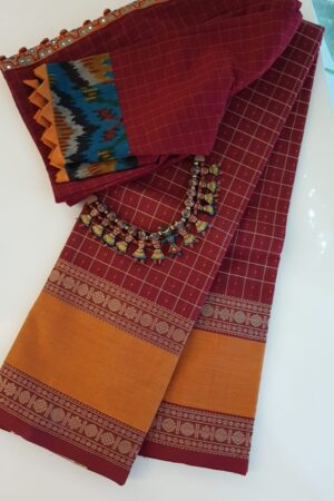 Arakku red kanchi cotton saree with retta pettu