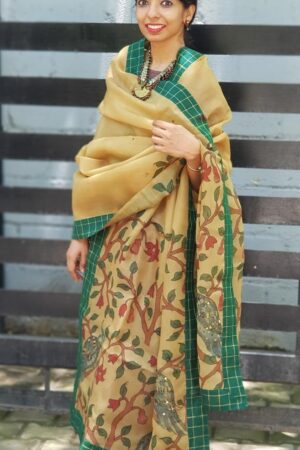 Beige Organza kalamkari dupatta with green checks border