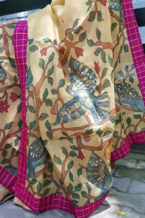 Beige Organza kalamkari dupatta with pink checks border