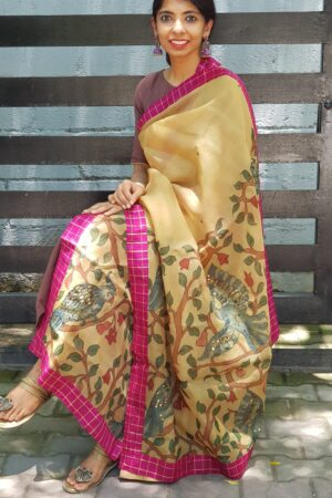 Beige Organza kalamkari dupatta with pink checks border1