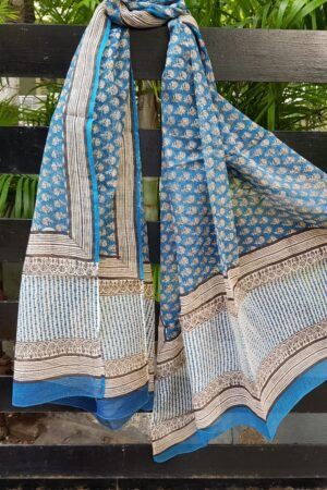 Beige and blue bagru kota dupatta