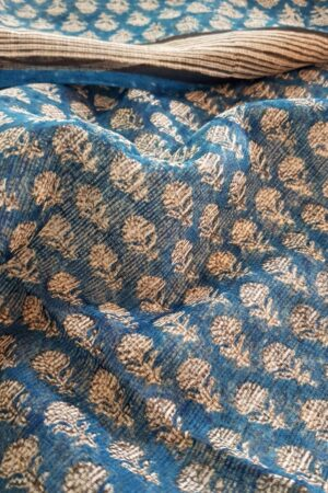 Beige and blue bagru kota dupatta1