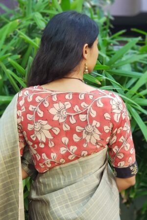 Beige and rust kalamkari blouse with black border